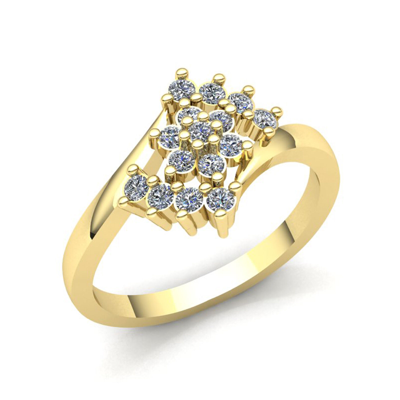 Natural 1ct Round Cut Diamond Ladies Flower Cluster Bypass Ring 10K gold