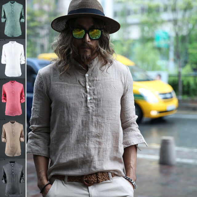ByTheR Men's Fashion Vintage Gauze Sleeve Linen Henley Neck Shirts Casual Tee CA