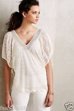 NWT Anthropologie Cille Pullover Blouse Top Shirt Knitted Knotted Ivory L Large