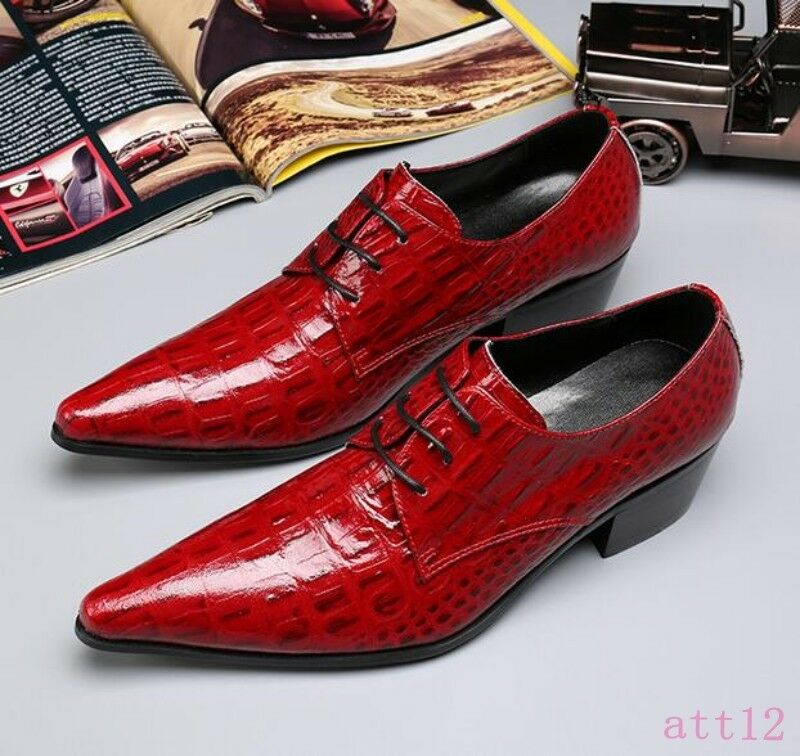 Vogue Mens Leather Pointed Toe Lace Up Dress Casual Wedding PARTY Club Red shoes