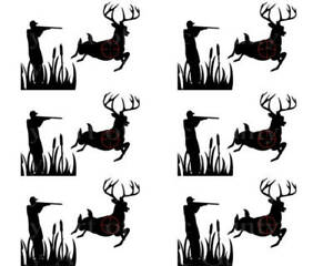 Surprising Deer Hunting Birthday Edible 2D Fondant Cake 3 Strip Side Topper Personalised Birthday Cards Veneteletsinfo