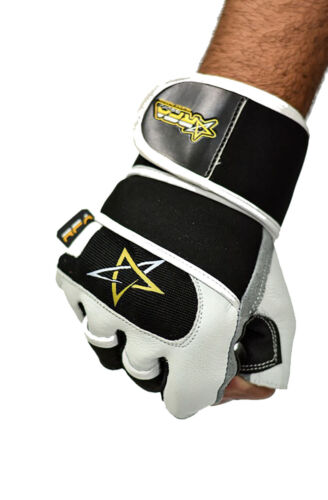 Men/'s Weight Lifting Gym Workout Gloves Leather Black White Fitness Exercise RFA
