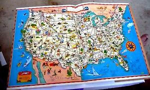 Greyhound Usa Map.Vintage Cartoon Map Bus Pacific Greyhound Lines Usa Golden Gate Expo