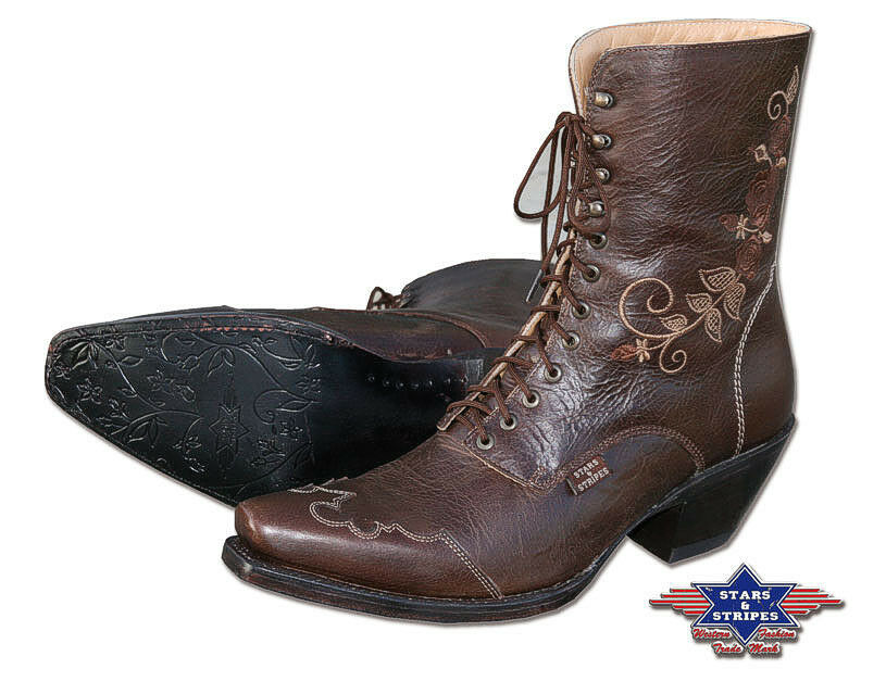 Señora botín country western-botas de cuero marrón Cowboy Boots S & S