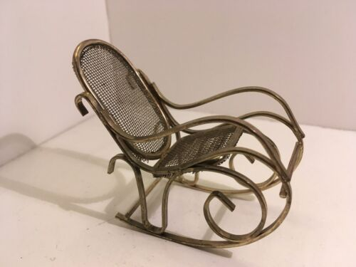 Dollhouse Miniatures Vintage Brass Mesh Rocking Chair #18