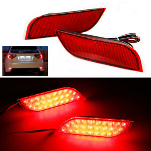 2x Led Rear Bumper Reflector Brake Fog Lights For Subaru