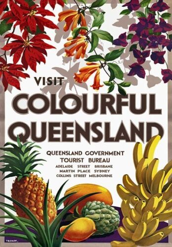 TR26 Vintage Australia Australian QueensLand Travel Poster Re-Print A1//A2//A3//A4