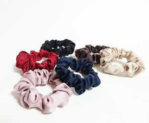 Solid Color Thin Satin Scrunchies A Set of 6 Satin Ponytail Holders ... ee04e9eff92