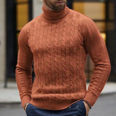 Men Winter Slim Fit Knitted High Neck Warm Sweater Pullover Jumper Turtleneck US