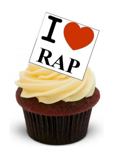 Nouveauté i love rap debout comestibles gâteau toppers anniversaire musique