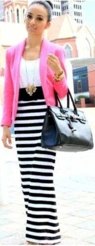 Ladies New Long Length Summer Boho Gypsy Stretch Black White Stripe Maxi Skirt