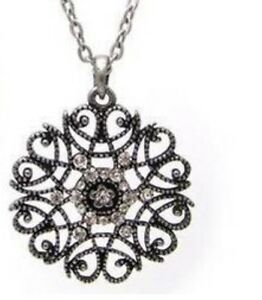 Bohemian-Black-Silver-Flower-Pendant-Costume-Jewellery-Tibetan-Long-Necklace