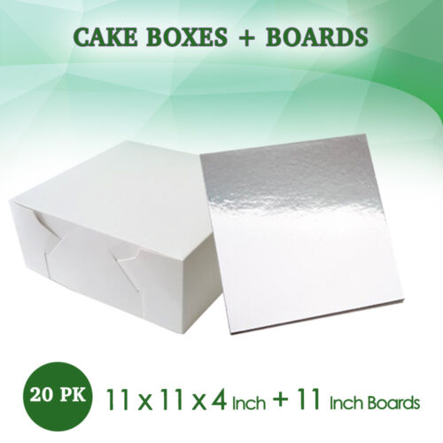 "Cake Boxes 11 x 11 x 4 20Pc + 20Pc Boards 11"" Square SilverSydney Metro Only"