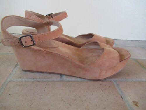 EILEEN FISHER Tan Nubuck Leather Platform Sandal S