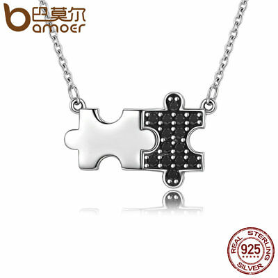 Bamoer .925 Sterling silver Necklace With CZ Geometric puzzle For Ladies Jewelry