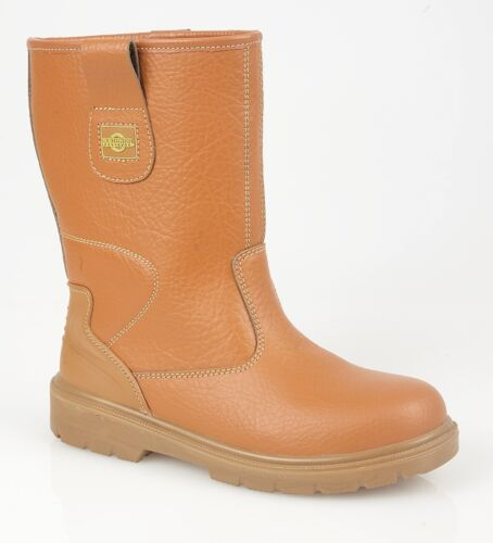 Northwest Territory Mens Leather Toe Cap Safety Boots Rigger Work Boots Tan 7-13