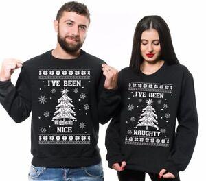 e50f299f2 Image is loading Ugly-Christmas-Sweater-Naughty-Nice-Christmas-Funny- Matching-