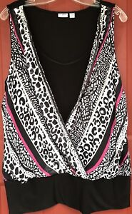 Cato-Woman-26-28W-Sleeveless-Black-W-Print-Wrap-Overlay-Plus-Size-Blouse-Shirt