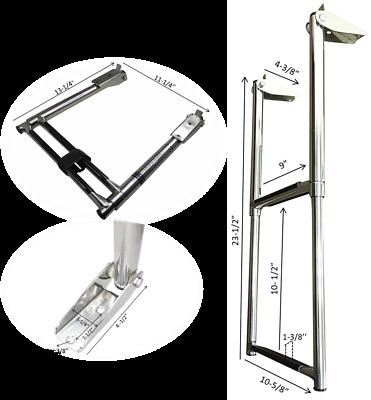 #MARINE BOAT STAINLESS STEEL 2 STEP TELESCOPIC LADDER SWIM STEP OVER PLATFORM