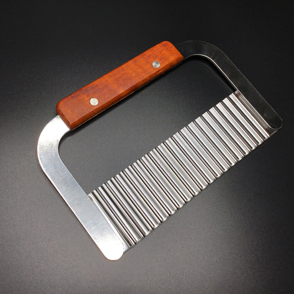 Stainless Steel and Wood Wavy Crinkled Soap Cutter ~ US Seller Ships Today