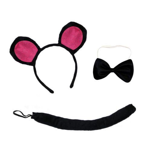 Ears Headband, Tail /& Bow Tie Cute Mouse 3-Piece Book Week Fancy Dress Sets