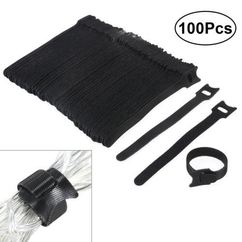 100*Klett-Kabelbinder wiederverwendbar Klettverschluss Schlaufenband Klettbänder