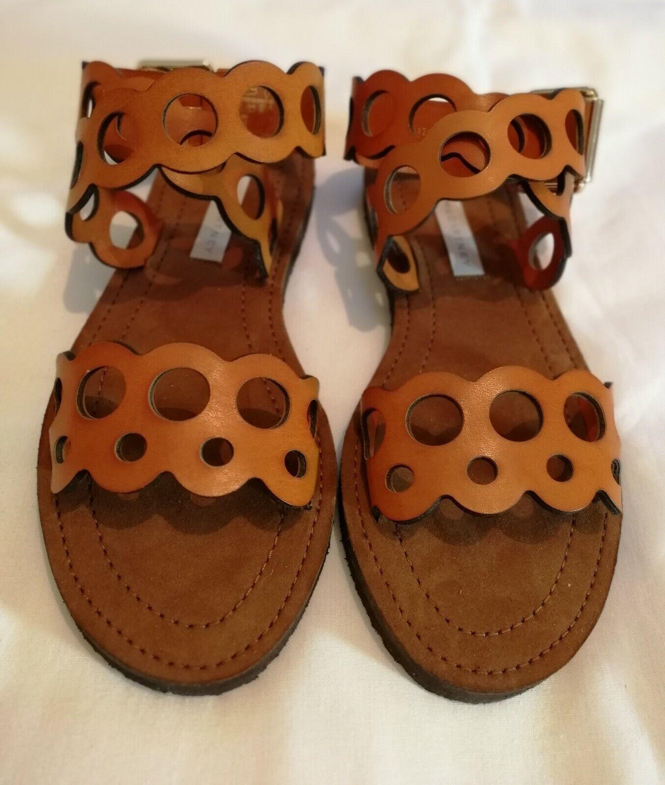 Stella McCartney Cutout Leather Flat Sandals Tan Size uk 4.5 eu 37.5