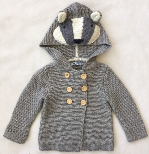 Baby Boden Mini Boden Boy Girl Grey Badger Cardigan Sweater 12-18 MONTHS 71525