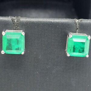 Genuine-Natural-2Ct-Green-Emerald-Stud-Earrings-Jewelry-925-Sterling-Silver