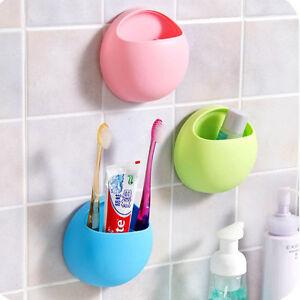 bathroom toothbrush holder wall mount suction cup toothpaste storage rack ebay. Black Bedroom Furniture Sets. Home Design Ideas