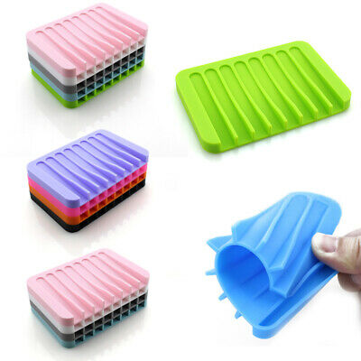 Bathroom Kitchen Silicon Soap Dish Holder Rack Tray Plate Saver Plate Tray Drain