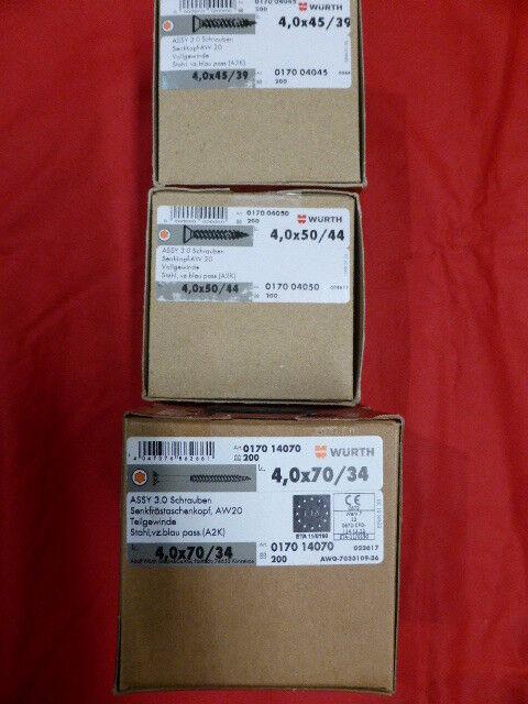 WÜRTH ASSY® 3.0 Schrauben 4 x  45  50  70 Vollgewinde Teilgewinde NEU OVP