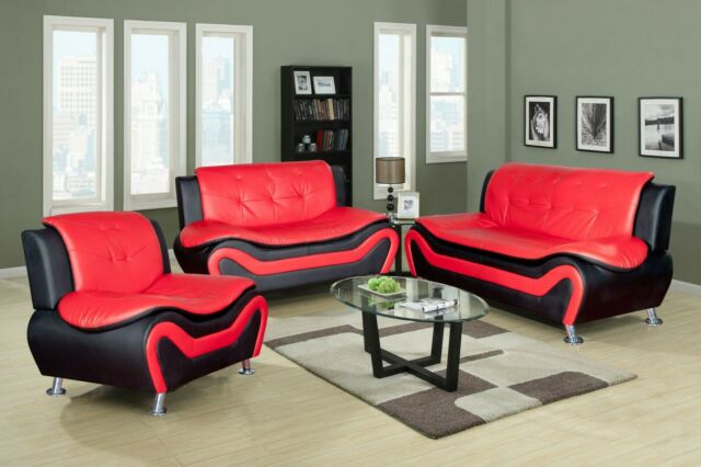 Amazing 3 Piece Aldo Modern Sofa Set Black Red Gamerscity Chair Design For Home Gamerscityorg