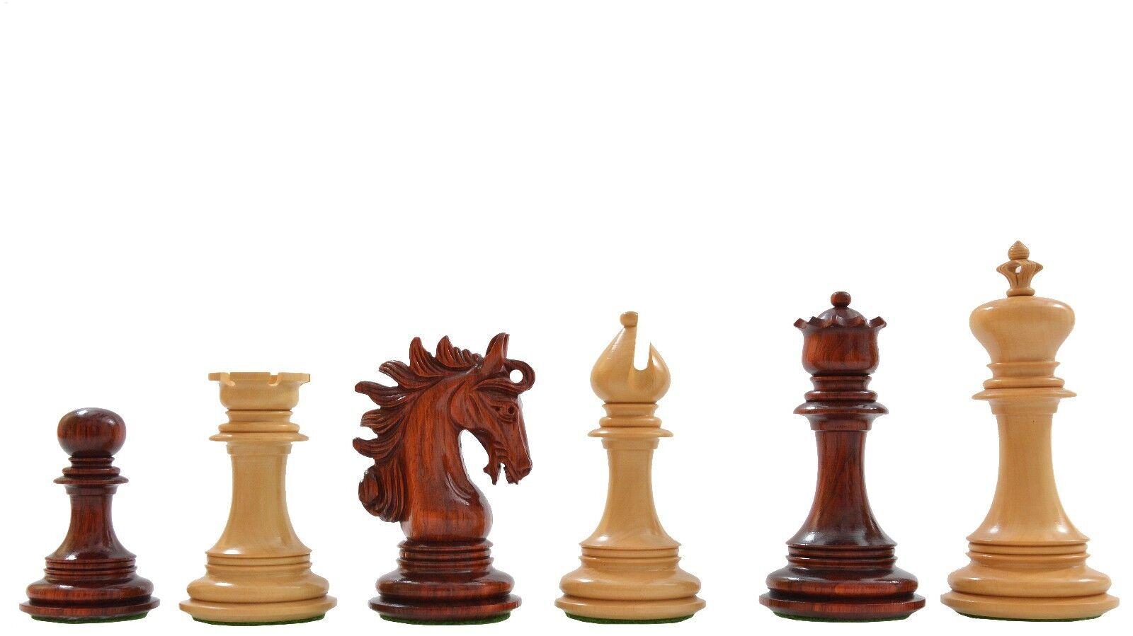 The Arabian Knight Artisan Staunton Chess Pieces in Bud pink & Box Wood
