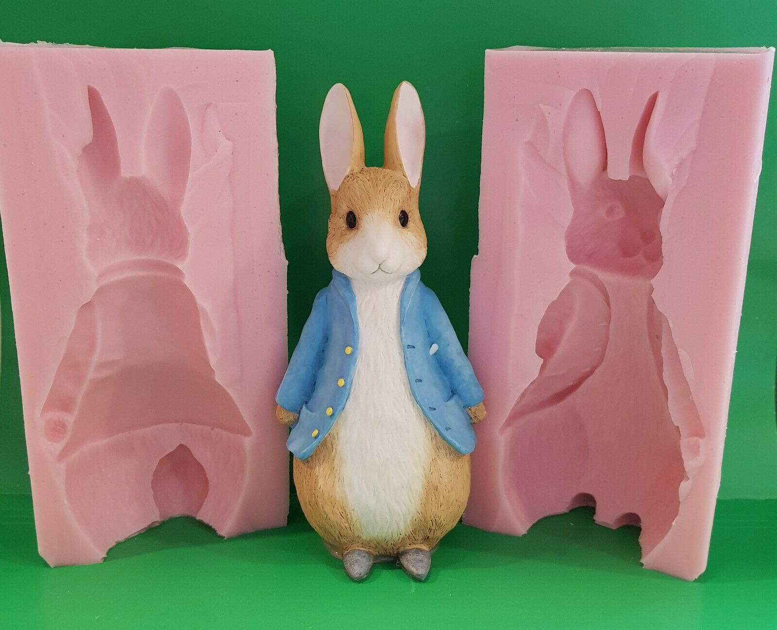 3d LARGE PETER RABBIT SILICONE MOULD FOR CAKE TOPPERS, CHOCOLATE, CLAY ETC