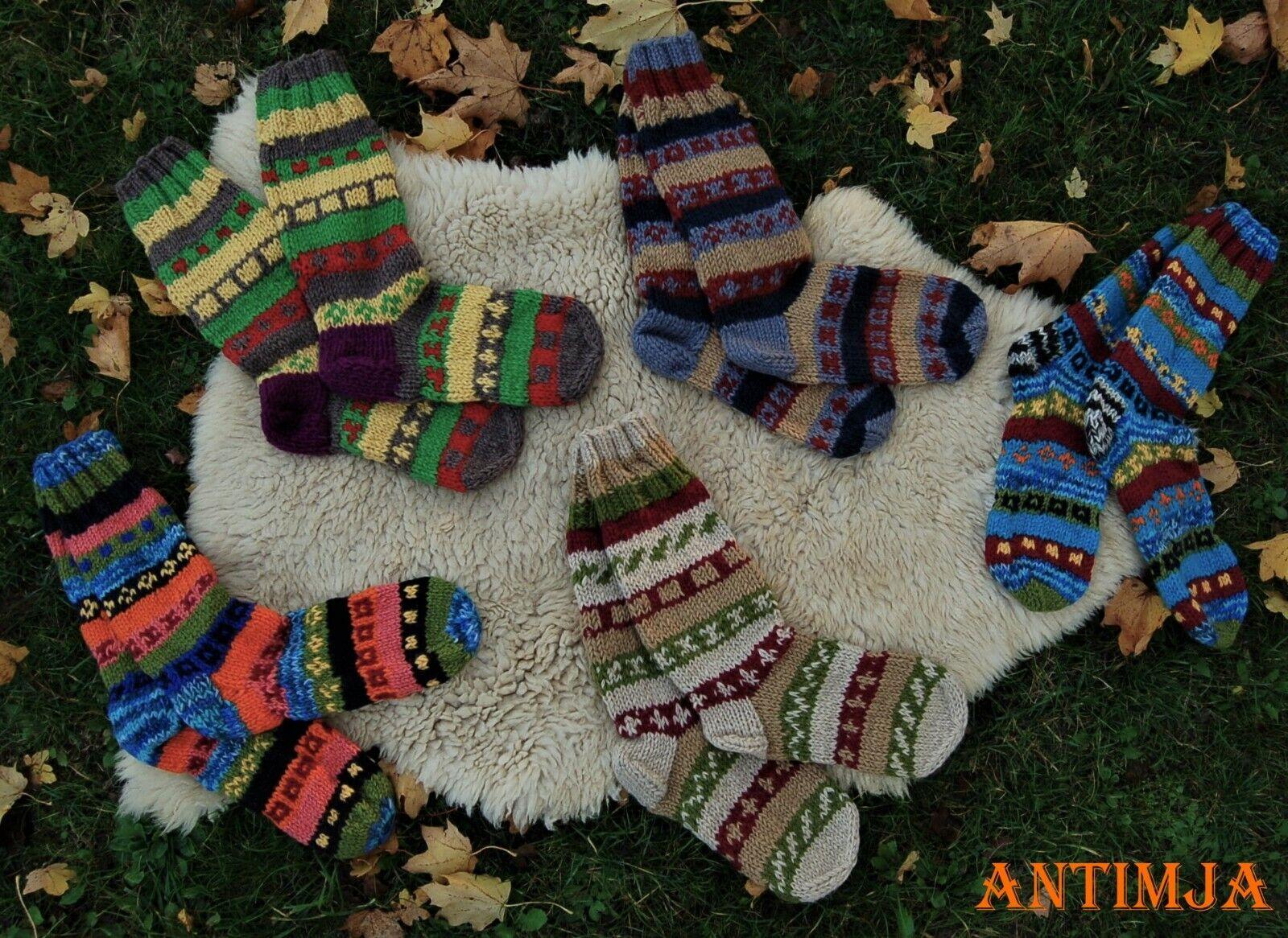 Wollsocken Bunte Wollstrümpfe Handgestrickt Haussocken Warme Winterstrümpfe