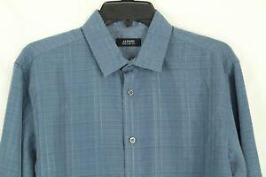 Alfani Men's Two-Tone Plaid Storm Cloud Blue Shirt Size M