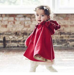 5ff241682281 Monsoon Children s Girls Red Rene Roses Cape Winter Coat Jacket UK 0 ...