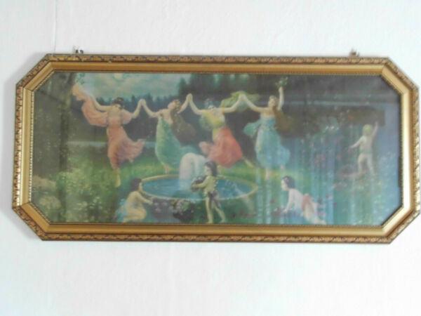 """Bild """"elfenreigen"""", Um 1920, Mit Rahmen 130x 80 Cm, Super Erhalten Hell In Farbe"""