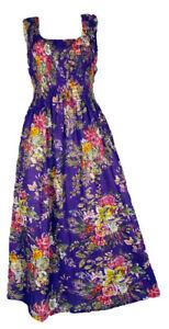 Pu-100-Cotton-Long-Boho-Maxi-Dress-Party-Evening-Size-14-16-18-20-22-24-April