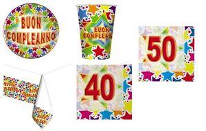 Dettagli Su Kit Compleanno 40 50 Anni Festa Addobbi Piatti Bicchieri Tovaglioli Cena N 16