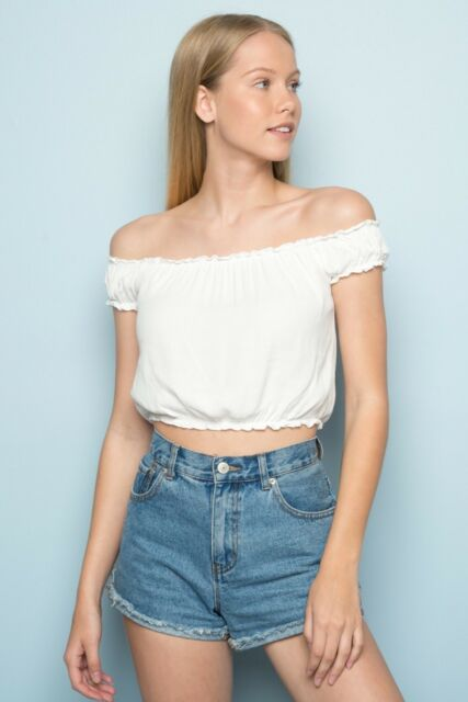 4162700e9ced8 Brandy Melville White Crop Floral Eyelit off Shoulder Rio Top Xs s ...