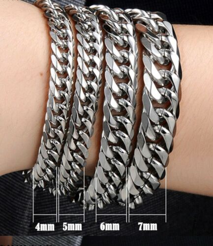 Details about  /Gift Bag 5mm 6mm or 7mm Bracelet Stainless Steel Man Curb Chain Silver Men 925