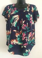 New Ex M&S Navy Multi Floral Print Casual Work Blouse Shirt Top Size 6-24