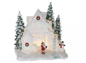 BELLISSIMO-Natale-Illuminare-resina-scena-Casa-Bianca-Casa-Decorazione-da-finestra