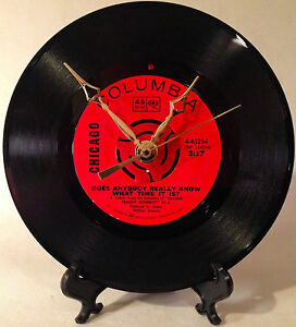 Recycled-CHICAGO-7-034-Record-Does-Anybody-Really-Know-What-Time-Record-Clock