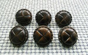 Set of 6 x 20mm Brown Leather Look Football Shank Buttons Knitting Sewing Coat
