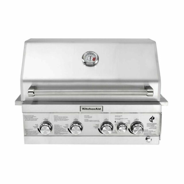 KitchenAid 4-burner Built-in Propane Gas Island Grill Head in Stainless  Steel