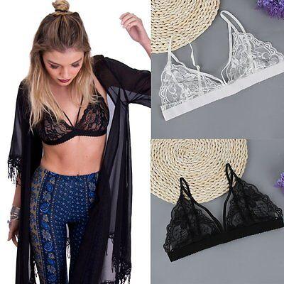 Women Floral Lace Bralette Bustier Crop Top Sheer Mesh Triangle Unpadded Bra