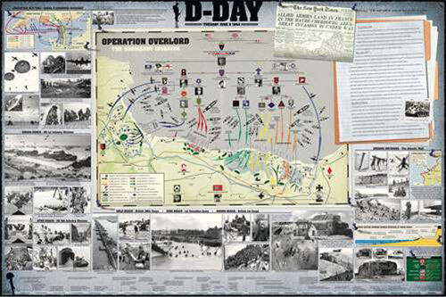 D-DAY Operation Overlord Normandy Invasion 1944 WWII History Wall Chart POSTER